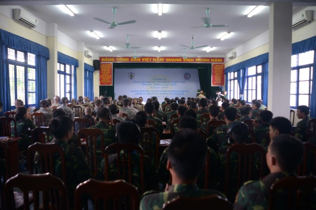 Members of the Oregon National Guard's CBRNE Enhanced Response Force Package (CERFP) joined more than 60 members of Vietnam's National Committee for Incident, Disaster Response, and Search and Rescue (VINASARCOM) from around Vietnam for a week-long event filled with training and exercises in Hanoi, Vietnam, August 2017. The 2017 Disaster Management Engagement Activity (DMEA) is part of the Oregon National Guard's State Partnership Program's efforts to work alongside with and train their Vietnamese partners in disaster response and emergency management.