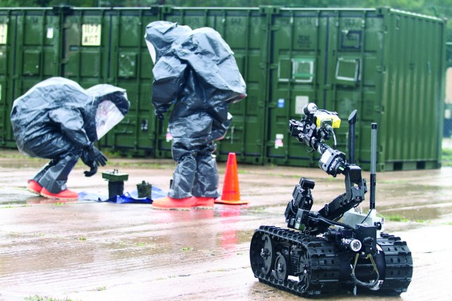 United States Army Reserve Soldiers of the 773rd Civil Support Team, 7th Mission Support Command, search for a simulated chemical, biological, radiological or nuclear contaminant using a survey robot during a certification exercise Sept. 15, 2017 on Daenner Kaserne in Kaiserslautern, Germany.
