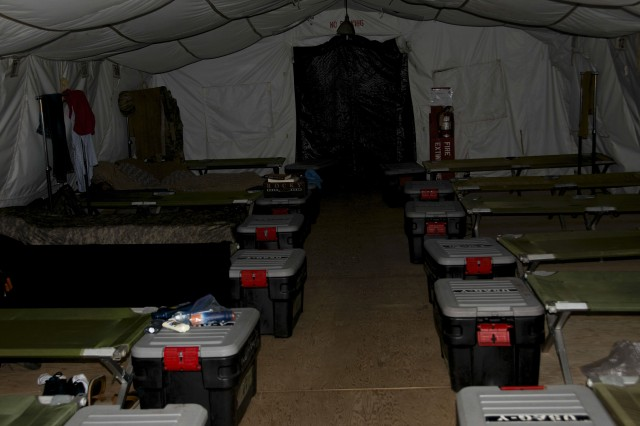 Each tent comes with cots and storage containers, capable of housing up to 20 military personnel at one time. Items such as fire extinguishers and fans are also provided. Soldiers must bring their own sleeping bags.