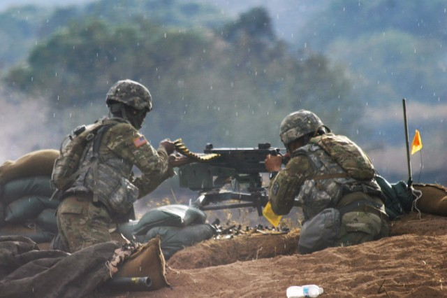 Soldiers from Alpha Company, 40th Expeditionary Signal Battalion defend their position during a live fire exercise here Sept. 15, 2017.  The 40th ESB is the first unit to use the fort's newest range.  Range 1B, a defensive fire range, was built to allow units to simulate an attack and defend their perimeter.