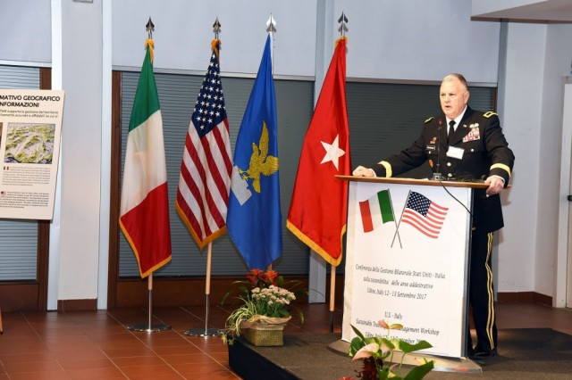 Brig. Gen. Dwaine E. Drummond, director of the Joint Staff, Maine National Guard, addresses participants of the Sustainable Training Area Management Workshop, in Udine, Italy, Sept. 12.