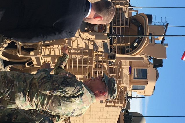 Acting Secretary of the Army Ryan McCarthy (left) views ground combat vehicle modernization and test efforts at the Aberdeen Test Center as part of his visit to Aberdeen Proving Ground, Maryland, on Sept. 20.
