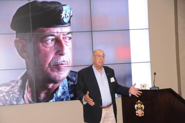Former First Army Commanding General, retired Lt. Gen. Russel L. Honoré, talks leadership and challenges with First Army leaders during a professional development session on Sept. 22 in the Pershing Conference Room of First Army headquarters on Rock Island Arsenal, Ill.