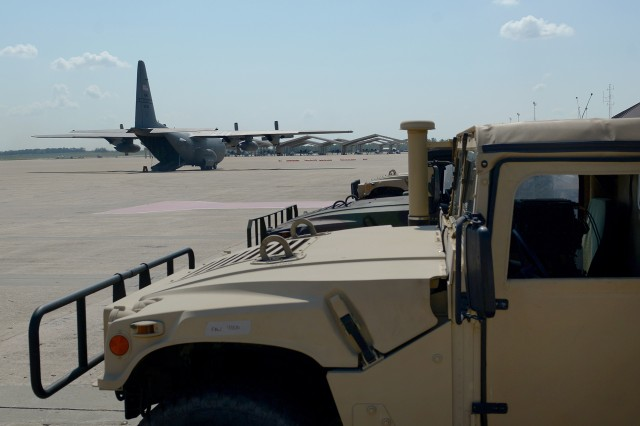 A C-130 Hercules aircraft assigned to the Missouri Air National Guard's 139th Airlift Wing, based in St. Joseph, Mo., taxis to transport Missouri Army National Guard equipment and personnel from Whiteman Air Force Base, Mo., to the Virgin Islands, Sept. 23, 2017. Elements of the Missouri National Guard have been activated to support hurricane relief efforts.