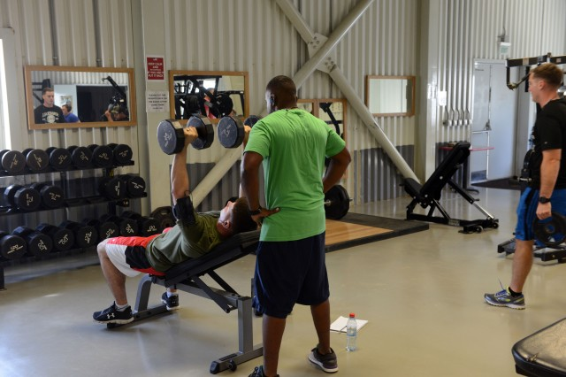 Soldiers and Army civilians have good workout facilities at both Camp Mihail Kogalniceanu, or Camp MK, in Romania and Novo Selo Training Area, or NSTA, in Bulgaria. Shown here is the gym at Camp MK.