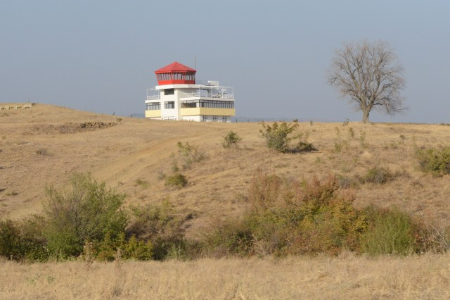 A Warsaw Pact-era observation tower sites on Novo Selo Training Area, or NSTA, in Bulgaria, dating to 1962 when NSTA was built. It is now used by U.S. and other NATO troops.