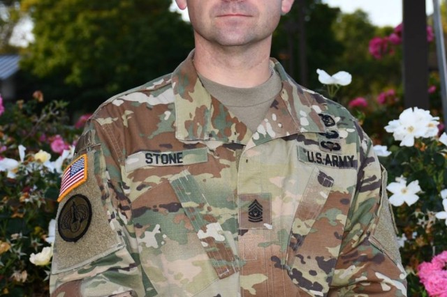 Command Sgt. Maj. Aaron Stone at the SHARP Expo., 21 Sept.