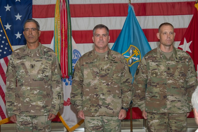 (Left to Right):  Command Sgt. Major Dayron I. Vargas, Maj. Gen. Christopher S. Ballard, commanding general, U.S. Army Intelligence and Security Command (INSCOM), and Command Sgt. Maj. Eric M. Schmitz during INSCOM's Command Sergeant Major Change of Responsibility Ceremony.  Schmitz assumed responsibility as INSCOM's senior noncommissioned officer from Vargas at the Nolan Building, Fort Belvoir, Virginia, Sep. 19.