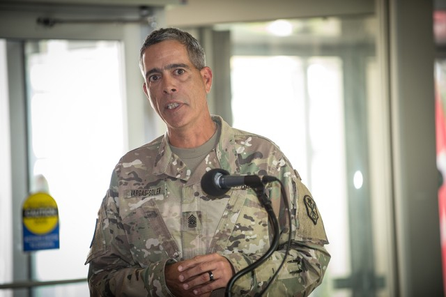 The outgoing U.S. Army Intelligence and Security Command's (INSCOM) Command Sgt. Maj. Dayron I. Vargas addresses the audience with a farewell speech during the INSCOM's Command Sergeant Major Change of Responsibility Ceremony at the Nolan Building, Fort Belvoir, Virginia, Sep. 19.