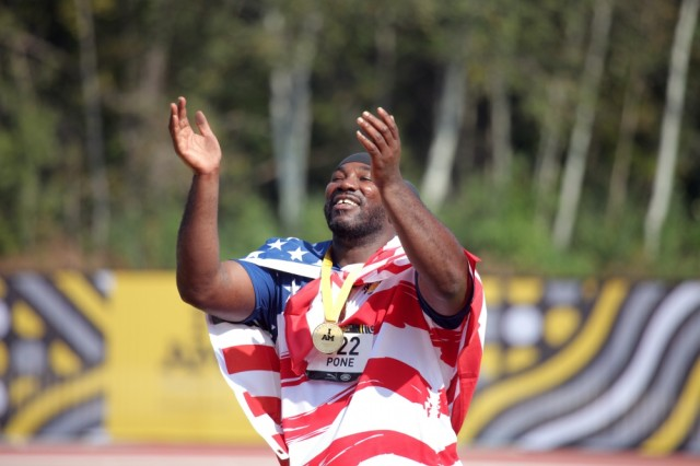 U.S. Army veteran Spc. Anthony Edward Pone wins gold in the men shot put 4kg event at the Invictus Games 200 meter wheelchair dash event at York Lions Stadium (YOR), Toronto, Canada, Sept. 24, 2017. The Invictus Games, Sept. 23-30, is an international program Paralympic-style, multi-sport event, created by Prince Harry of Wales, in which wounded, injured, or sick armed services personnel and their associated veterans take part in sports including wheelchair basketball, wheelchair rugby, sitting volleyball, archery, cycling, wheelchair tennis, powerlifting, golf, swimming, and indoor rowing.