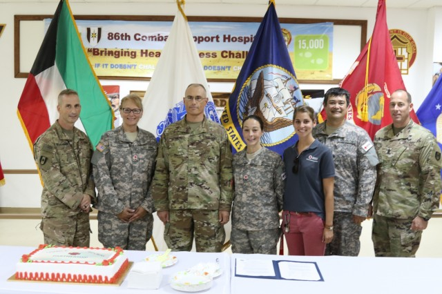 Civilians and U.S. service members come together to celebrate the start of a partnership program amongst the American Red Cross and 86th Combat Support Hospital, Aug. 31, at Camp Arifjan, Kuwait. U.S. Army Central wants service members to take advantage of any training opportunities available, because they are committed to building leaders who are technically and tactically proficient, adaptive, innovative and agile.