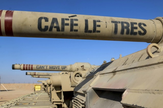 A line of heavy equipment transporters, each carrying its 70-ton cargo -- M1A1 Abrams Main Battle tanks, sits ready to be unloaded at the field training site of Exercise Bright Star 2017 at Mohamed Naguib Military Base, Egypt, Sept. 9. The exercise has been a training and partnership event between Egypt and the U.S. since 1981, but this year's exercise is the first since 2009. (U.S. Army photo by Staff Sgt. Leah R. Kilpatrick)