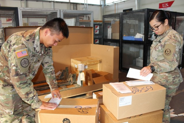 3. Sgt. Alpiras Cruz(R), storage noncommission officer, and Spc. Maria Barcinas, storage clerk, label incoming parts with Material Release Orders on Sept. 21, 2017 at the Supply Support Activity on Rose Barracks, Germany during the Supply Excellence Award Inspection. The automated logistic specialists helped their platoon win the U.S. Army Europe Supply Excellence Award Level IV SSA (MTOE). Both Soldiers are assigned to Alpha Troop, Regimental Support Squadron, 2d Cavalry Regiment.