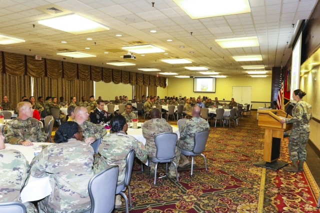 Soldiers of Fort Carson gather for the 2017 Hispanic Heritage Month observance, presented by 71st Ordnance Group (Explosive Ordnance Disposal) and 4th Infantry Division's Equal Opportunity Office, Sept. 25 at the Elkhorn Conference Center. The observance officially began Sep. 15 and will continue through Oct. 15. (U.S. Army photo by Staff Sgt. Lance Pounds, 71st Ordnance Group (EOD), Public Affairs)