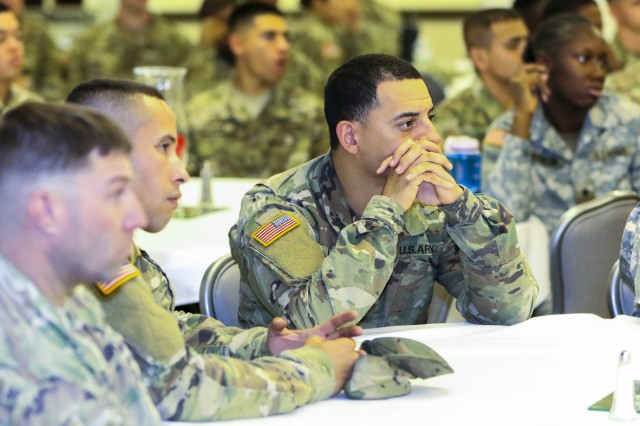 Soldiers of Fort Carson listen to a guest speaker discuss the importance diversity has with in the military during the 2017 Hispanic Heritage Month observance, presented by 71st Ordnance Group (Explosive Ordnance Disposal) and 4th Infantry Division's Equal Opportunity Office, Sept. 25 at the Elkhorn Conference Center. The observance officially began Sep. 15 and will continue through Oct. 15. (U.S. Army photo by Staff Sgt. Lance Pounds, 71st Ordnance Group (EOD), Public Affairs)