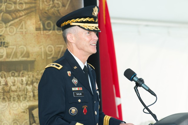 Maj. Gen. Randy Taylor, senior commander of Aberdeen Proving Ground and commander of the U.S. Army Communications-Electronics Command, gives welcoming remarks during the Army Public Health Center's 75th Anniversary Celebration Sept. 26.
