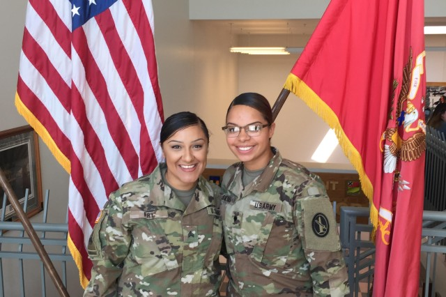 Sgt. Aimee Fry (left), a unit supply specialist and squad leader with the 12th Aviation Battalion, The U.S. Army Aviation Brigade, U.S. Army Military District of Washington, is a second-generation American born to Mexican parents.