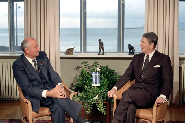American President Ronald Reagan and Soviet Secretary General Mikhail Gorbachev meet during a two-day arms control summit held in Reykjavik, Iceland in October 1986.