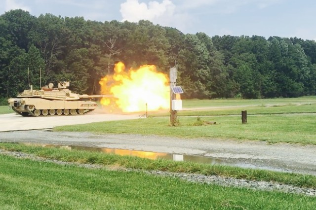 An M1A2 SEPv3 live-fire demonstration at Aberdeen Providing Ground, Marylnad, in August. This version is the most modernized configuration of the Abrams tank, having improved force protection and system survivability enhancements and increased lethality over the M1A1 and previous M1A2 variants.