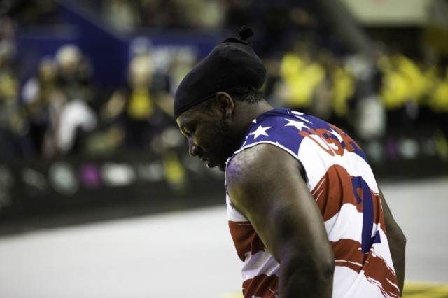 U.S. Army veteran Anthony Edward Pone attends the Wheelchair Basketball event during the Invictus Games at the Ryersons Mattamy Athletic Centre, Toronto, Canada, Sept. 30, 2017. Invictus Games, September 23-30, is an international Paralympic-style, multi-sport event, created by Prince Harry of Wales, in which wounded, injured or sick armed services personnel and their associated veterans take part in sports including wheelchair basketball, wheelchair rugby, sitting volleyball, archery, cycling, wheelchair tennis, powerlifting, golf, swimming, and indoor rowing.