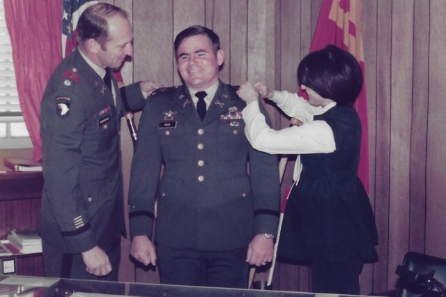 Gary M. Rose promoted to the rank of Captain at Fort Sill, Oklahoma, on Dec. 19, 1977.