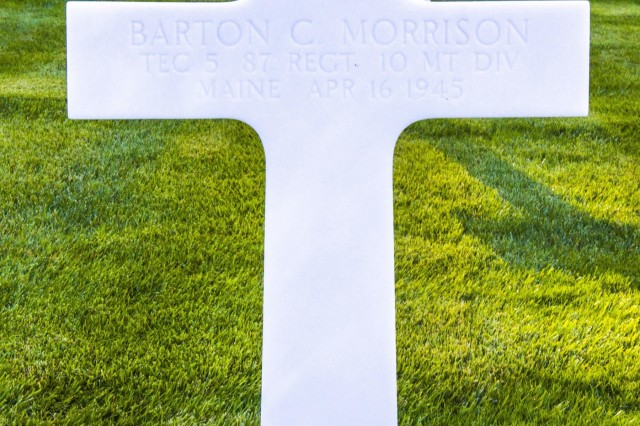 A gravesite visited by 10th Mountain Division Soldiers on September 30 for TEC 5 Barton C. Morrison, 87th Regiment, 10th Mountain Division, who died on April 16, 1945 in Italy. The group was on a tour that retraced the history of their Division by visiting WWII battlefields and signifcant sites to gain a deeper understanding, appreciation, and connection to the Division. (U.S. Army photo by Spc. Thomas Scaggs) 170930-A-TZ475-157