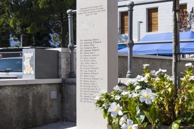 A 10th Mountain Division memorial dedicated to the 25 Soldiers who lost their lives on Lake Garda sits in a square in Torbole, Italy, on October 2. A group of Soldiers from the 10th Combat Aviation Brigade, 10th Mountain Division (LI) was on a tour that retraced the history of their Division by visiting WWII battlefields and signifcant sites to gain a deeper understanding, appreciation, and connection to the Division. (U.S. Army photo by Spc. Thomas Scaggs) 171002-A-TZ475-100