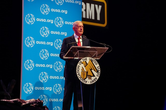 Secretary of Defense James Mattis talks about DOD's three lines of effort during the opening ceremony of the Association of the U.S. Army Annual Meeting and Exposition Oct. 9, 2017.