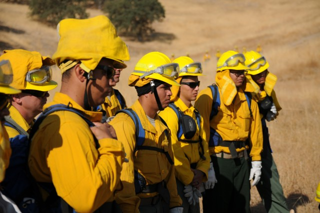 California National Guard Soldiers receive instruction from CAL FIRE firefighters during hand crew training Sept. 6, 2017 at Camp Roberts. The troops headed out Sept. 7 to the Salmon-August Complex Fire near Etna, California, the Mission Fire, near Oakhurst, California, and wherever else needed. More National Guard activity is expected Oct. 10, 2017, to combat fires that are ravaging wine country and elsewhere.