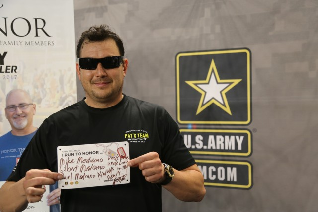 """Joe Medrano, from Corpus Christi, Texas, planning his """"Run To Honor"""" for Patrick Horan. Medrano is one of over 750 registered participants in the Army Ten-Miler scheduled for Oct. 8, 2017. The """"Run To Honor"""" campaign is the work of Survivor Outreach Services, part of G9 Family and MWR Programs, who directly benefit from the proceeds of the race produced by the U.S. Military District of Washington."""