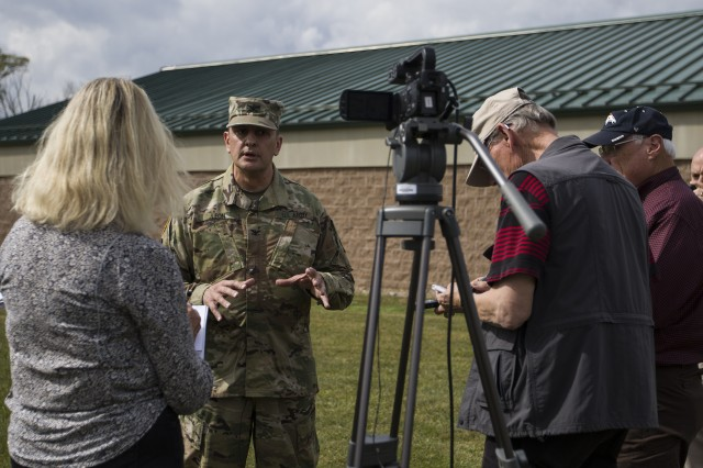 "Lt. Col. Leon Lawrence, a civil affairs officer assigned to the Army Reserve's 143rd Expeditionary Support Command, is interviewed by members of Mission Command Training Program as a training scenario during a ""Warfighter"" exercise Oct. 5, 2017, at Fort Indiantown Gap, Pa. The exercise was a computer-simulated war game run by OC/Ts from Mission Command Training Program and First Army."