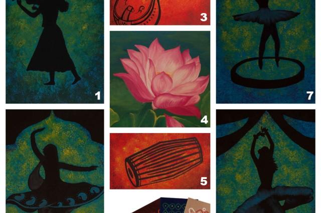 Montage of Dr. Latha Nataraj's paintings: (1) Musician Series -- Violinist (2) Dancer Series - Kathak Dancer (3) Musical Instrument Series -- Veena (4) Lotus (5) Musical Instrument Series -- Mridangam (6) Rungoli Designs (7) Dancer Series- Ballerina (8) Dancer Series - Flamenco Dancer.