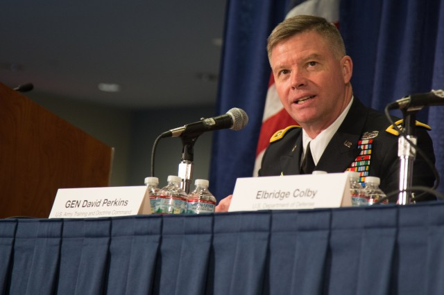 Gen. David Perkins, commander of Army Training and Doctrine Command, speaks about converging cross-domain solutions during a discussion on multi-domain battle at the Association of the U.S. Army Annual Meeting and Exposition in Washington, D.C., Oct. 11, 2017.