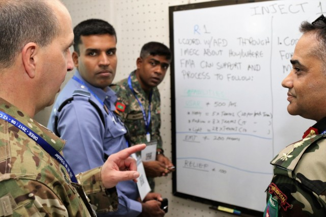 LTC Sean McGann, Deputy Chief of Staff, Joint Directorate Command, Oregon National Guard (left), briefs his team members during a table top exercise supporting the 2017 South Asia Pacific Resilience Disaster Response Exercise and Exchange in Dhaka, Bangladesh, 11 Oct. The Pacific Resilience series of exercises support U.S. Pacific Command's civil-military integration and Humanitarian Assistance/Disaster Relief capabilities. The South Asia Disaster Response Exercise and Exchange is just one of many exercises that ensure the United States is prepared to assist its global neighbors. (U.S. Army photo by Sgt. 1st Class Corey Ray)