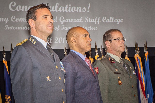 (l-r) Lt. Gen. Dennis Gyllensporre, Sweden; Major Gen. Antony Anderson, Jamaica; and Lt. Gen. Leo Beulen, Netherlands; prepare to be inducted into the Command and General Staff College International Hall of Fame Oct. 12 at Fort Leavenworth, Kansas. The three bring to 274 the number of international graduates of CGSC who have been added to the hall of fame that recognizes international officers who have graduated from CGSC and become the leader of their military service or their country's military forces.