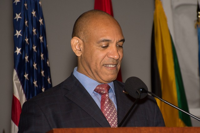 Major General Antony Anderson, Chief of Defense Staff, Jamaica, is inducted into the Command and General Staff College International Hall of Fame 17 years after he graduated from the course on Oct. 12 at the Lewis and Clark Center on Fort Leavenworth, Kansas. Anderson currently serves as Jamaica's National Security Advisor.