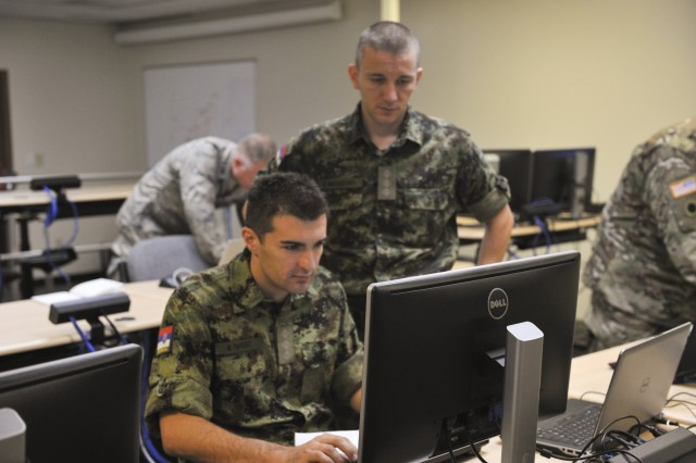 Serbian Armed Forces information technology specialists participate in Cyber Tesla, a weeklong cyber defense exercise between the U.S. and Serbia, Sept. 14, 2017, at the Maj. Gen. Robert E. Beightler Armory in Columbus, Ohio. This was the second year for the exercise, which had elements in Serbia as well as Ohio.