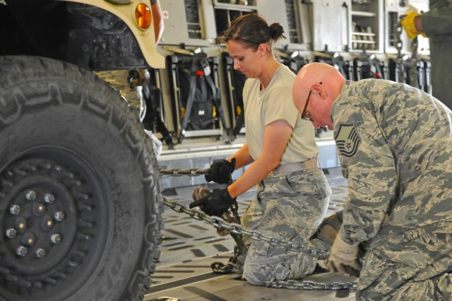 Airmen prepare an Ohio Army National Guard Humvee onto a C-17 Globemaster III Oct. 11, 2017, at Rickenbacker Air National Guard Base in Columbus, Ohio. About 40 Soldiers from the 137th Signal Company, based in Newark, Ohio, are deploying to Puerto Rico to provide communications support to hurricane relief efforts.