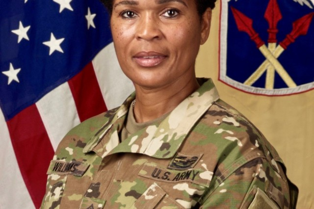 CSM Pamela Williams is the senior enlisted adviser of the 593rd Expeditionary Sustainment Command at Joint Base Lewis-McChord, Washington.