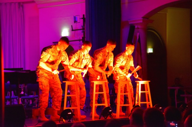 "Percussionists with the U.S. Army Europe Band and Chorus perform, ""Stool Pigeon"" for audience members at the German-American Friendship Concert at the Fructhalle, Kaiserslautern, Oct. 14. The event celebrated the 70-year partnership between the city of Kaiserslautern and U.S. Army Garrison Rheinland-Pfalz."