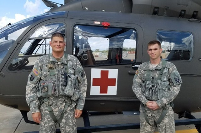 Capt. Drew Headings, right, and Chief Warrant Officer 4 Dennis Osborne are assigned to the Tupelo-based Company D, 2nd Battalion, 151st Aviation Regiment, Mississippi Army National Guard. Both are pilots of the UH-72 Lakota helicopter in a medical evacuation unit.