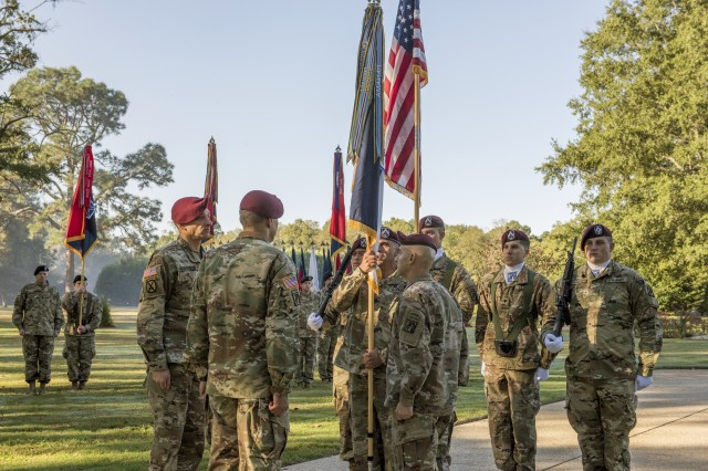 The XVIII Airborne Corps welcomed a new command sergeant major Wednesday, during a change of responsibility ceremony at the Main Post Parade Field. Command Sgt. Maj. Benjamin Jones passed the reigns to Command Sgt. Maj. Charles W. Albertson.