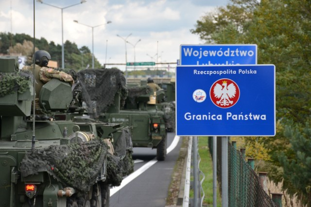 The 3rd Squadron, 2d Cavalry Regiment convoy crosses the border into Poland, Oct. 12, 2017. The convoy is currently en route from Rose Barracks, Germany to Orzysz, Poland where they are scheduled to relieve 2nd Squadron, 2CR of their responsibilities at the Battle Group Poland.