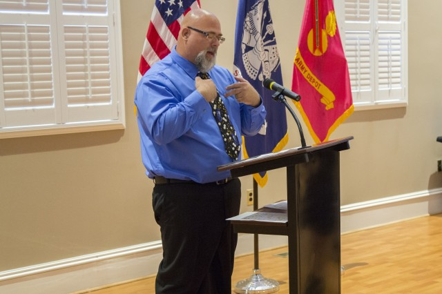 Henry Benefield of the depot's Directorate of Production, welcomed employees and guests to the luncheon.