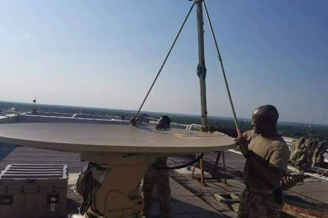 The C Company, 63rd Expeditionary Signal Battalion set up this SIPR/NIPR Access Point, or SNAP, satellite terminal at a local hospital in Houston, Texas, on September 2, 2017, to provide communications support during disaster relief efforts following Hurricane Harvey.