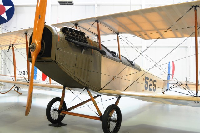 The Curtiss JN-4D Jenny on display in the U.S. Army Aviation Museum. It was delivered to the U.S. Army in 1918 and was the most powerful of the Jenny series of aircraft.