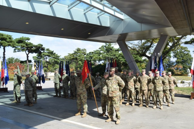 Soldiers assigned to Alpha Battery, 4th ADA and Delta Battery, 2nd ADA stand in formation Oct. 19 during the D-2 reflagging ceremony in Seongju, South Korea. D-2 is the only Terminal High Altitude Area Defense battery in South Korea.