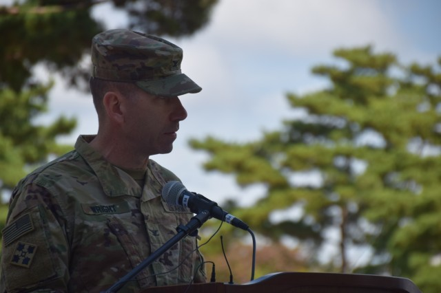 The 35th Air Defense Artillery Brigade Commander, Col. Rick Wright, addresses Soldiers assigned to Alpha Battery, 4th ADA and Delta Battery, 2nd ADA Oct. 19 during the reflagging ceremony for D-2 in Seongju, South Korea. D-2 is the only Terminal High Altitude Area Defense battery on the Korean Peninsula.
