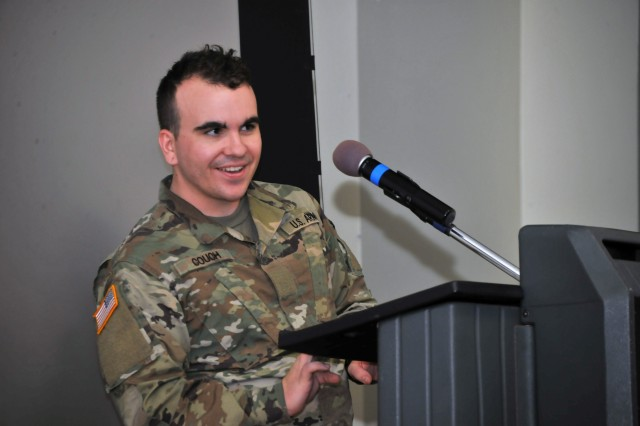 U.S. Army Pvt. Brennan Couch, a first-semester student, was the overall winner of the 26th Annual Korean Language Writing Contest for Foreign Nationals and received his award Oct. 12 at the Defense Language Institute Foreign Language Center. (U.S. Army photo by Patrick Bray/Released)
