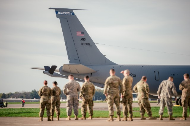 Members of the 152nd Engineer Support Company, New York Army National Guard, prepare to depart on three Air National Guard C-130's and KC-135 Stratotanker to Puerto Rico, Niagara Falls Air Reserve Station, N.Y., Oct. 19, 2017. 125 members of the 152nd ESC are deploying to Puerto Rico with heavy equipment to work on such things as debris removal and restore lines of communication to bring aid in the on going hurricane relief.